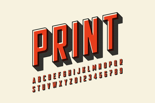 Offset print style modern font design, alphabet letters and numbers