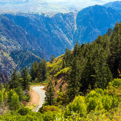 In Black Canyon of the Gunnison National Park in Colorado, East Portal Road descends in a steep, winding route to the Gunnison River
