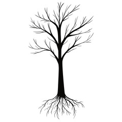 Silhouettes of Tree with Roots isolated on white background. Vector Illustration.