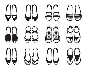 Set Of Different Types Of Women's Shoes Pair, Monochrome, Top View, Footwear, Fashion, Objects