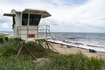 White Life Guard Station On the Shore Palm Beach Waves Crashing