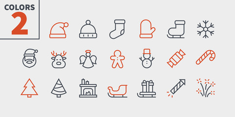 Merry Christmas Pixel Perfect icons Well-crafted Vector Thin Line Icons 48x48 Ready for 24x24 Grid for Web Graphics and Apps. Part2 Colors 2