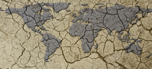 Banner Dried and Cracked Arid Earth Map Drought Concept
