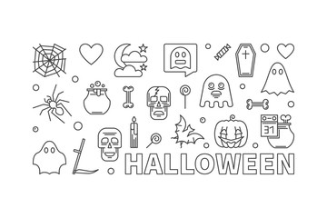Halloween outline banner. Vector horizontal illustration