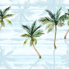 Watercolor palm trees, textured shadows on simple striped background