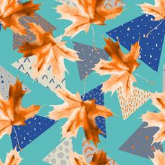 Poster de jardin Empreintes Graphiques Watercolor maple leaf, triangles with minimal, grunge textures.