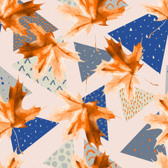 Poster Grafische Prints Watercolor maple leaf, triangles with minimal, grunge textures.