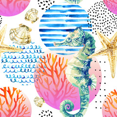 Fond de hotte en verre imprimé Hibou Watercolor seahorse, coral reef in gradient colored circle with doodle elements on white background