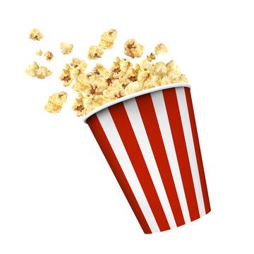 Classic popcorn on white background