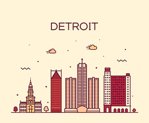 Detroit city skyline Michigan USA vector line city