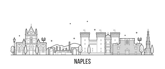 Wall Mural - Naples skyline Italy city buildings vector linear