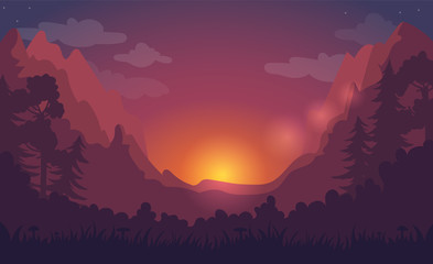 Forest background at sunset