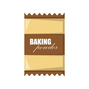 Vector cartoon illustration with isolated baking powder in bag. Vector baking or pastry ingredient icon isolated on white background. Cartoon cooking ingredient object