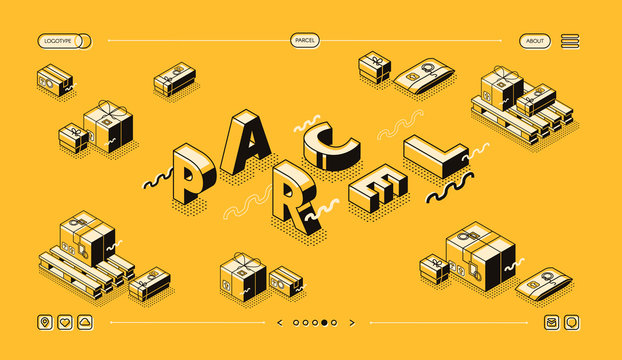 Parcels delivery and post mail logistics vector illustration in thin line word letters design. Package boxes with postage stamps in warehouse pallets on halftone yellow background