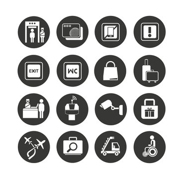 airport icon set in circle buttons