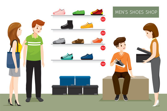 Men's Shoes Shop With Saleswoman And Customers, Footwear, Fashion, Objects, Occupation, Profession, Working