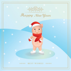 Piggy skating on ice. 3d art design for books, greeting cards, brochures, holiday flyers, booklets. Chinese Happy new year. The inscription Best wishes. Pig in Santa's hat. Vector illustration