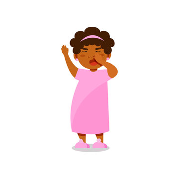 Cute little girl in pink pajamas yawning vector Illustration on a white background
