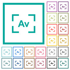 Camera aperture value mode flat color icons with quadrant frames