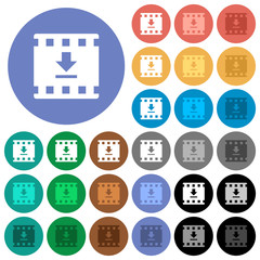 Download movie round flat multi colored icons