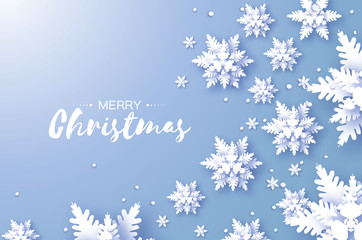 Merry Christmas and Happy New Year Greetings card. White Paper cut snowflakes. Origami Winter Decoration background. Seasonal holidays. Snowfall. Space for text. Blue.