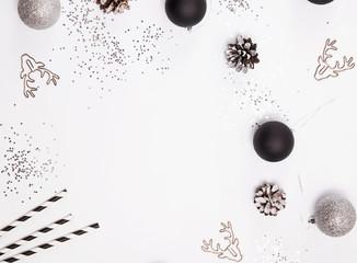 Modern Christmas decor on the white background.
