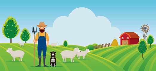 Woolgrower with Dog and Sheep Farm on Hill Landscape Background