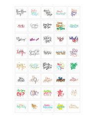 words sentence typography typographic writing script image vector icon symbol set