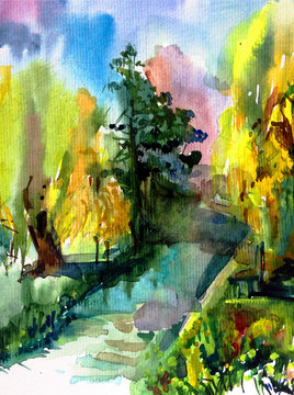 Watercolor colorful bright textured abstract background handmade . Mediterranean landscape . Painting of architecture and vegetation of the park , made in the technique of watercolors from nature