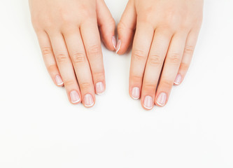 Beautiful female hands. Manicure concept  on white background