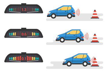 Car parktronic infographic - three positions in flat