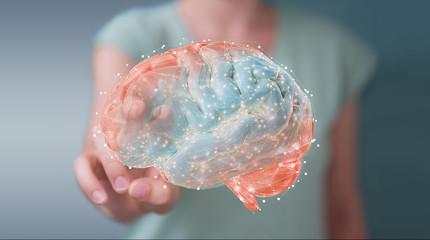 Businesswoman using digital 3D projection of a human brain 3D rendering Wall mural