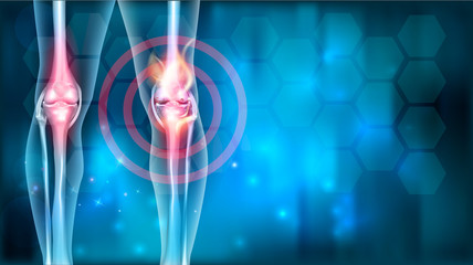 Knee joint ache problems abstract blue background with abstract fire