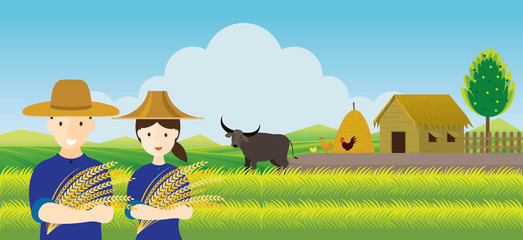 Thai Farmer with Rice and Paddy Field Background, Countryside Scene