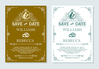 Luxurious wedding invitation, Vintage ornament greeting card vector template. Advertising or other design and place for text. Flourishes frame on background. Vector illustration