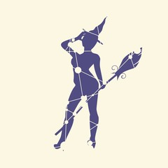 Illustration of standing young witch icon. Witch silhouette with a broomstick. Lady rise her hand to the head. Halloween relative image. Silhouette textured by lines and dots pattern