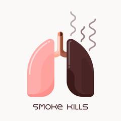 Flat design illustration of human lungs, smoking addiction concept
