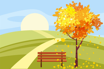 Autumn landscape, tree with fallen leaves, wooden bench, panorama, autumnal mood, yellow, red, orange leaves, cartoon style, vector, illustration, isolated