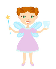 Tooth Fairy isolated on white background, fairy holding magic wand and child's tooth