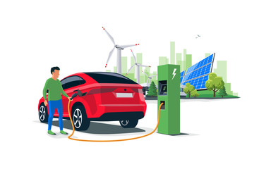 Electric suv car charging at the charger station with a young man holding the cable. Wind turbines and solar panels with green city skyline in background. Isolated flat vector illustration concept.