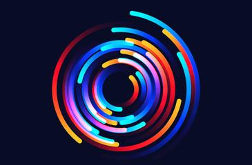 Fototapeta Star trails vector background illustration made up of colored gradient lines obraz