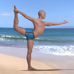 Bald man in blue briefs practising the lord of the dance or natarajasana yoga pose on a sandy beach, backbend-balancing on left foot. Square 3d render.