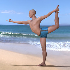 Bald man in blue briefs practising the lord of the dance or natarajasana yoga pose on a sandy beach, backbend-balancing on right foot. Square 3d render.