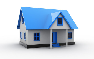 3d rendered house on white background