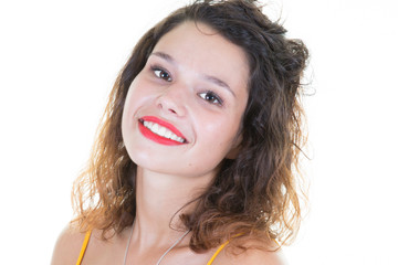 young smiling girl portrait beauty in white background