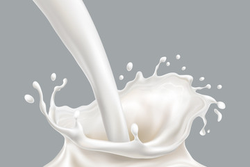 Isolated falling milk splash, pouring white paint