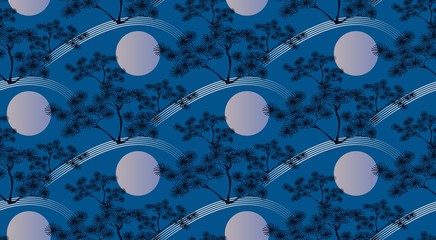 asian seamless pattern with pine tree landscape blue night