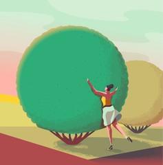 girl hugging a tree illustration