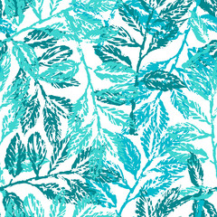 Ink hand drawn seamless pattern with laurel branches