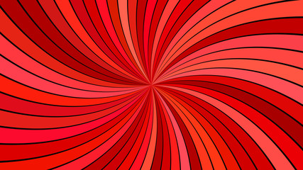 Red abstract psychedelic spiral stripe background - vector curved ray illustration